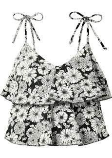 Lisa Marie Fernandez Imaan Ruffled Printed Stretch-crepe Bikini Top