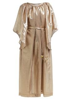 Lisa Marie Fernandez Angel-sleeve belted cotton-blend dress