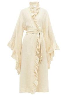 Lisa Marie Fernandez Anita ruffle-edge linen-blend cover-up