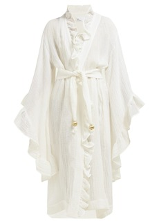 Lisa Marie Fernandez Anita ruffle-trimmed linen-blend robe