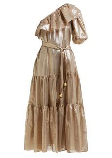 Lisa Marie Fernandez Arden asymmetric tiered lamé midi dress