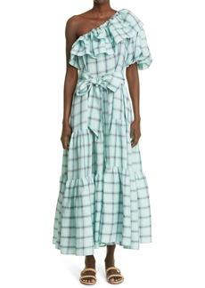 Lisa Marie Fernandez Arden Plaid Ruffle One-Shoulder Linen Maxi Dress