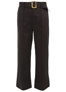 Lisa Marie Fernandez Belted high-rise cropped linen trousers