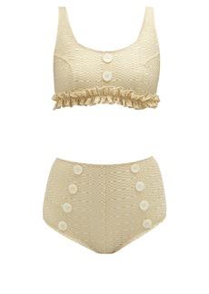 Lisa Marie Fernandez Colby high-rise metallic-seersucker bikini