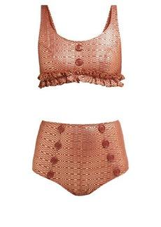 Lisa Marie Fernandez Colby metallic-seersucker bikini