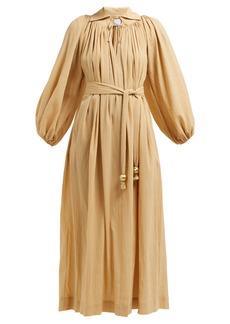 Lisa Marie Fernandez Gathered balloon-sleeve cotton maxi dress