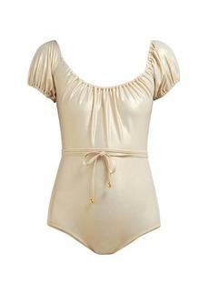 Lisa Marie Fernandez Leandra off-the-shoulder swimsuit