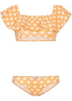 Lisa Marie Fernandez Mira polka dot print flounce bikini