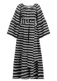 Lisa Marie Fernandez Peasant striped satin dress