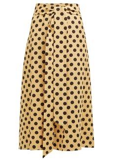 Lisa Marie Fernandez Polka-dot print slubbed linen-poplin shirtdress