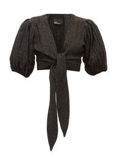 Lisa Marie Fernandez Pouf balloon-sleeve tie-front linen-blend top