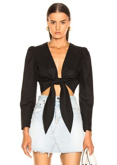 Lisa Marie Fernandez Pouf Long Sleeve Linen Tie Blouse