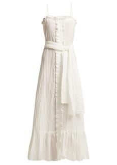Lisa Marie Fernandez Ruffle-trimmed seersucker dress