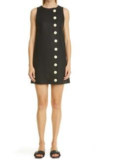 Lisa Marie Fernandez Scallop Button Front Linen Shift Minidress