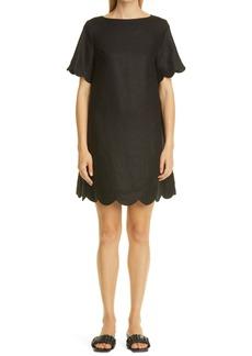 Lisa Marie Fernandez Scallop Button Linen T-Shirt Dress
