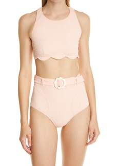 Lisa Marie Fernandez Scallop High Waist Two-Piece Swimsuit
