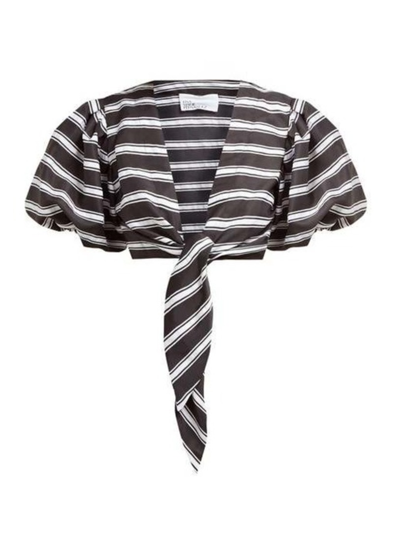 Lisa Marie Fernandez Striped tie-front satin shirt