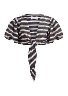 Lisa Marie Fernandez Striped tie-front satin shirt