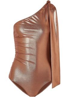Lisa Marie Fernandez Woman Arden One-shoulder Knotted Metallic Swimsuit Copper