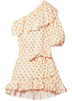 Lisa Marie Fernandez Woman Arden One-shoulder Ruffled Printed Linen Mini Dress Pastel Orange