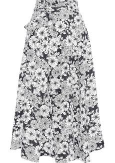 Lisa Marie Fernandez Woman Belted Floral-print Linen Midi Skirt White