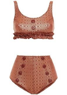 Lisa Marie Fernandez Woman Colby Button-embellished Metallic Seersucker Bikini Copper