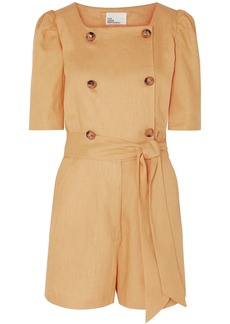 Lisa Marie Fernandez Woman Diana Double-breasted Belted Linen Playsuit Sand