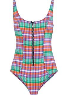Lisa Marie Fernandez Woman Jasmine Zip-detailed Checked Cotton-blend Swimsuit Multicolor