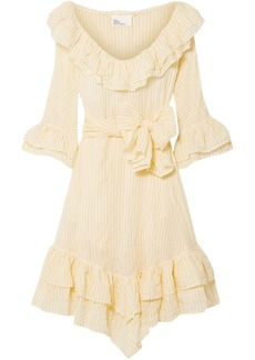 Lisa Marie Fernandez Woman Laura Ruffled Striped Crinkled Cotton-voile Dress Pastel Yellow