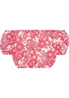 Lisa Marie Fernandez Woman Leandra Cropped Off-the-shoulder Floral-print Linen Top Tomato Red