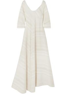 Lisa Marie Fernandez Woman Patmos Asymmetric Cotton-jacquard Maxi Dress Ecru