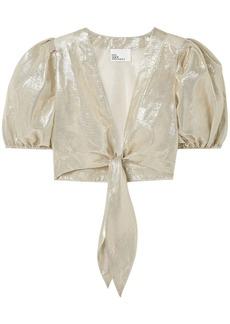Lisa Marie Fernandez Woman Pouf Cropped Tie-front Cotton-blend Lamé Top Platinum