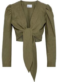 Lisa Marie Fernandez Woman Pouf Cropped Tie-front Linen Top Army Green