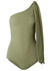 Lisa Marie Fernandez Woman Arden One-shoulder Knotted Stretch-crepe Swimsuit Army Green