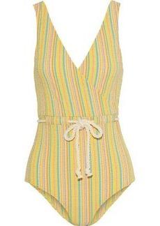 Lisa Marie Fernandez Woman Yasmin Tie-front Striped Seersucker Swimsuit Yellow