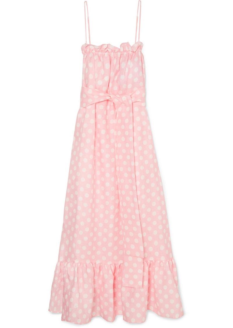 a8c0593d27 Lisa Marie Fernandez Liz Polka-dot Linen Maxi Dress
