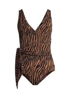 Lisa Marie Fernandez Louise Zebra-Print One-Piece Swimsuit