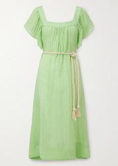 Lisa Marie Fernandez Muu Muu Belted Linen-blend Gauze Midi Dress