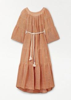 Lisa Marie Fernandez Net Sustain Oversized Belted Tiered Linen-blend Gauze Maxi Dress