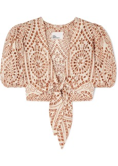 Lisa Marie Fernandez Pouf Tie-front Broderie Anglaise Cotton Top