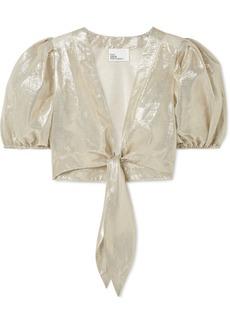 Lisa Marie Fernandez Pouf Cropped Tie-front Cotton-blend Lamé Top