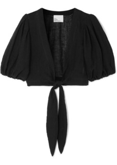 Lisa Marie Fernandez Pouf Cropped Tie-front Linen-blend Gauze Top