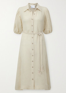 Lisa Marie Fernandez Pouf Linen-blend Gauze Shirt Dress