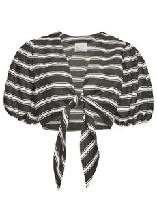 Lisa Marie Fernandez Pouf Striped Tie Blouse