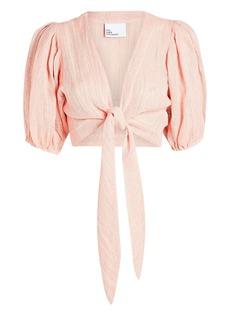 Lisa Marie Fernandez Pouf Tie-Front Crop Top