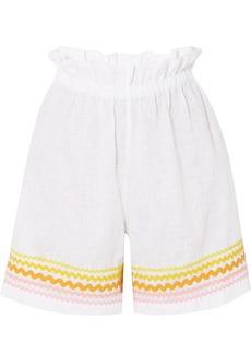 Lisa Marie Fernandez Rickrack-trimmed linen shorts