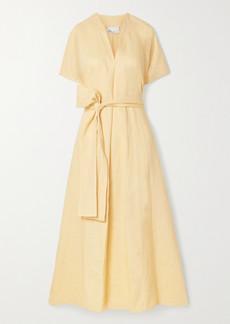 Lisa Marie Fernandez Rosetta Belted Linen Maxi Dress