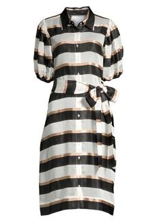 Lisa Marie Fernandez Stripe Puff-Sleeve Shirtdress