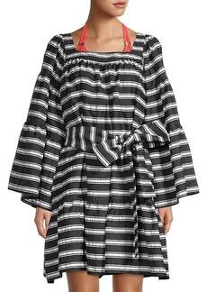Lisa Marie Fernandez Striped Bell-Sleeve Belted Dress