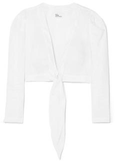 Lisa Marie Fernandez Tie-front Cropped Linen Top